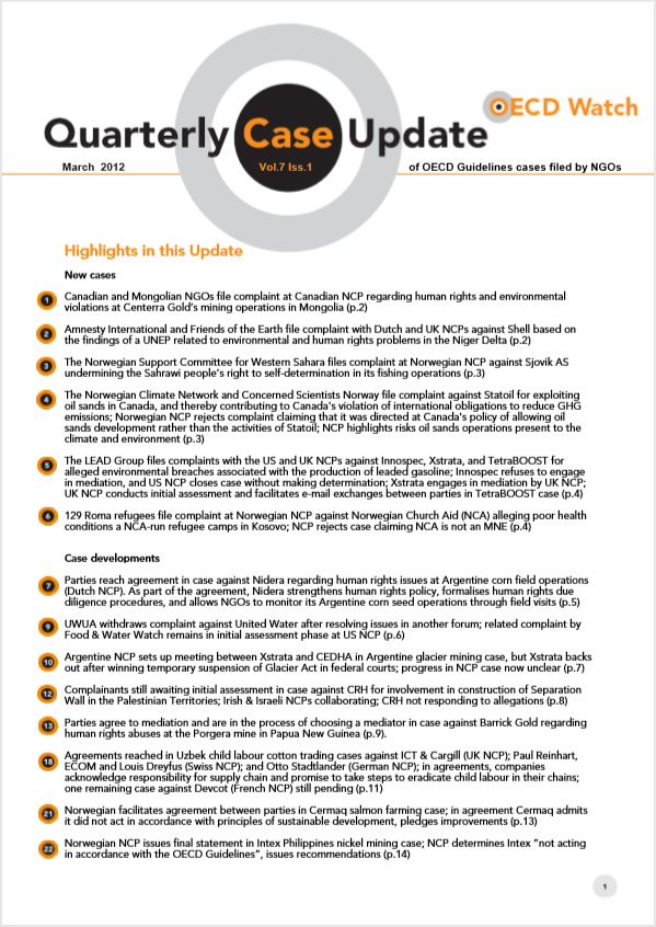 publication cover - OECD Watch Quarterly Case Update March 2012