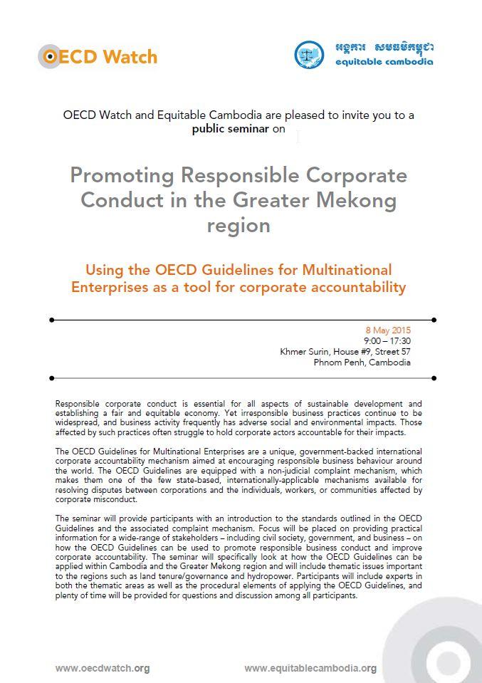 OECD Watch public seminar in Cambodia, 8 May 2015