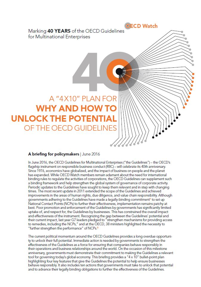 "A ""4x10"" plan for why and how to unlock the potential of the OECD Guidelines"
