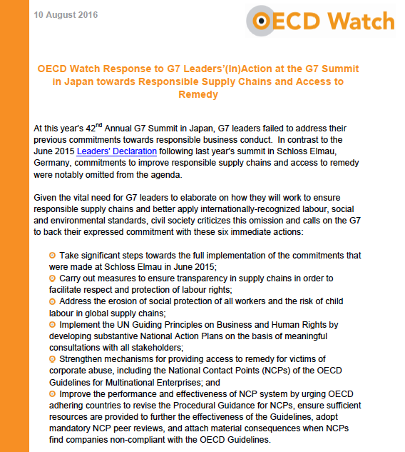 OECD Watch Response to G7 Leaders' (In)Action