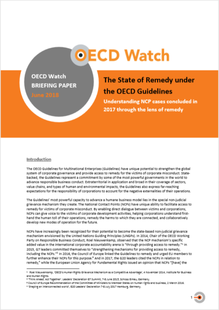 publication cover - The State of Remedy under the OECD Guidelines