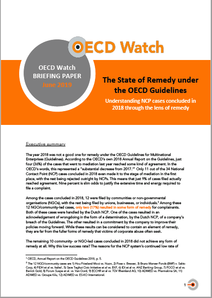 publication cover - The State of Remedy under the OECD Guidelines: Understanding NCP cases concluded in 2018 through the lens of remedy