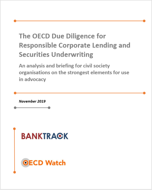 publication cover - OECD Watch & BankTrack briefing on OECD corporate lending due diligence guidance