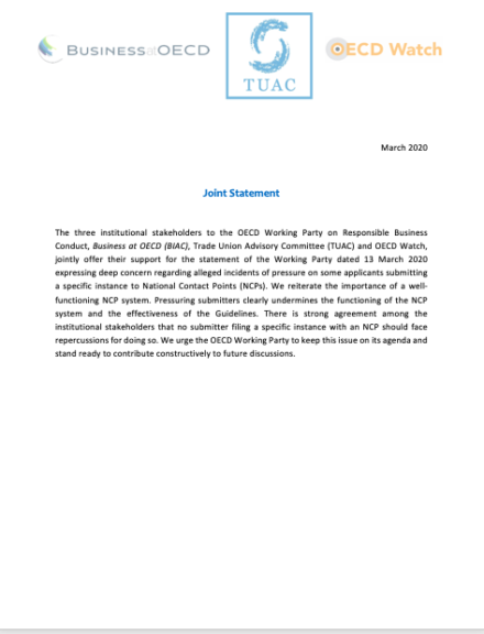 publication cover - OECD Watch, BIAC and TUAC Joint Statement Against Reprisals