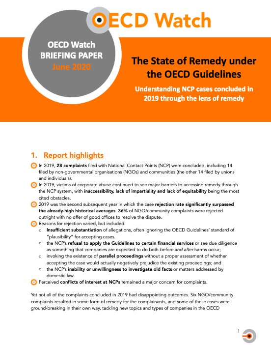 publication cover - The state of remedy under the OECD Guidelines in 2019
