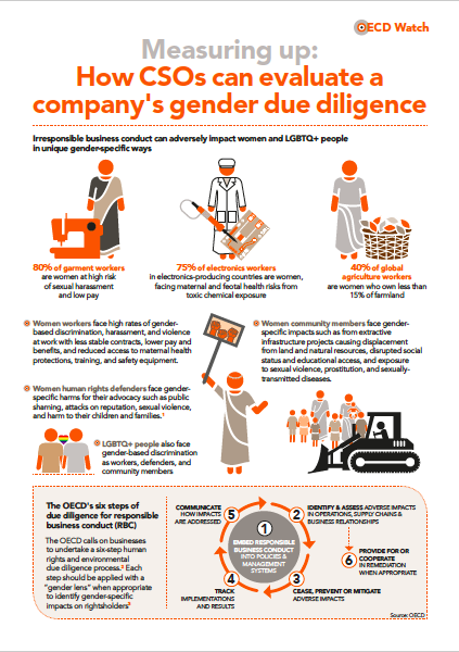 publication cover - New OECD Watch guidance on gender due diligence